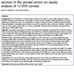 Use of family planning and child health services in the private sector: an equity analysis of 12 DHS surveys