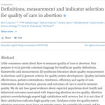 Definitions, measurement and indicator selection for quality of care in abortion